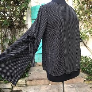 Who What Wear Black & White Bell Sleeve Blouse